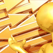 Gold Guy Arrows Presenter — Stock Photo