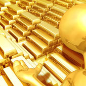 Gold Guy With Gold Bars — 图库照片