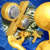 Gold Guy Realty Concept — Stock Photo