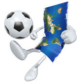 3d World Map Football Soccer — Stock Photo