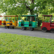 Funny small train to transport kids on holidays — Stock Photo