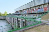 Hydroelectric power plant close to the dam — Stock Photo