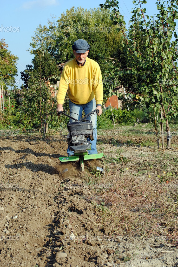 Middle age man with a rototiller in the garden  Stock Photo #9057390