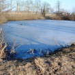 Frozen lake in farmlands in a sunny day — Stock Photo
