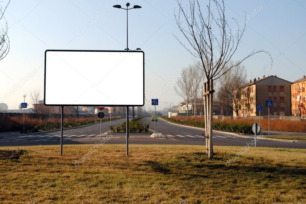Blank bill board in a urban scene, to be filled — Stock Photo #9403230