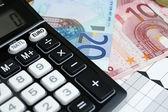 Euros and converter — Stock Photo