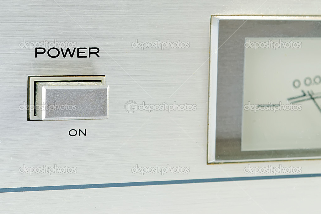 Detail of a hi fi system power button  Stock Photo #8763077