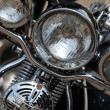 Motorcycle headlights — Stock Photo