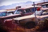 Złomowisko samochodów stary, zniszczony — Zdjęcie stockowe
