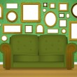 Livingroom_wallpaper_couch_frame_eps8 — Stock Vector
