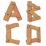 rustieke houten lettertype alfabet letters abcd — Stockvector  #8379394