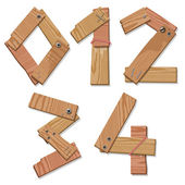 Rustic Wood Font Digits Numbers Letters 01234 — Stock Vector