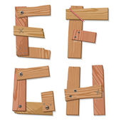 Rustic Wooden Font Alphabet Letters EFGH — Stock Vector