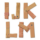 Rustic Wooden Font Alphabet Letters IJKLM — Stock Vector