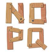 Rustic Wooden Font Alphabet Letters NOPQ — Stock Vector