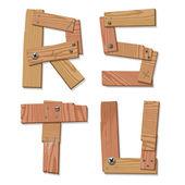 Rustic Wooden Font Alphabet Letters RSTU — Stock Vector