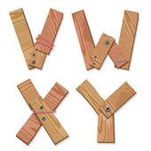 Rustic Wooden Font Alphabet Letters VWXY — Stock Vector