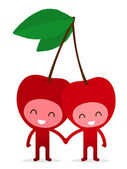 Cherry couple holding hands — Stock Vector