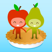 Friedly Apple And Pear On Pie — Cтоковый вектор