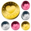 Coin Or Token Set With Heart — Stock Vector