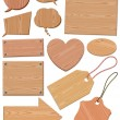 Stock Vector: Set Of Woodgrain Icons