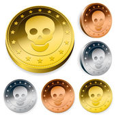 Coin Or Token Set With Skull — Stock Vector