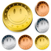 Coin Or Token Set With Smiley Face — Stock Vector