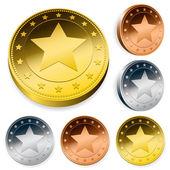 Coin Or Token Set With Star — Stock Vector