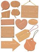 Set Of Woodgrain Icons — Stock Vector
