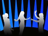 Kız bir diskoda dans siluetleri — Stok fotoğraf