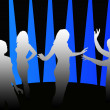 Silhouettes of girls dancing in a disco - 图库照片
