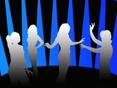 Silhouettes of girls dancing in a disco — Stock Photo