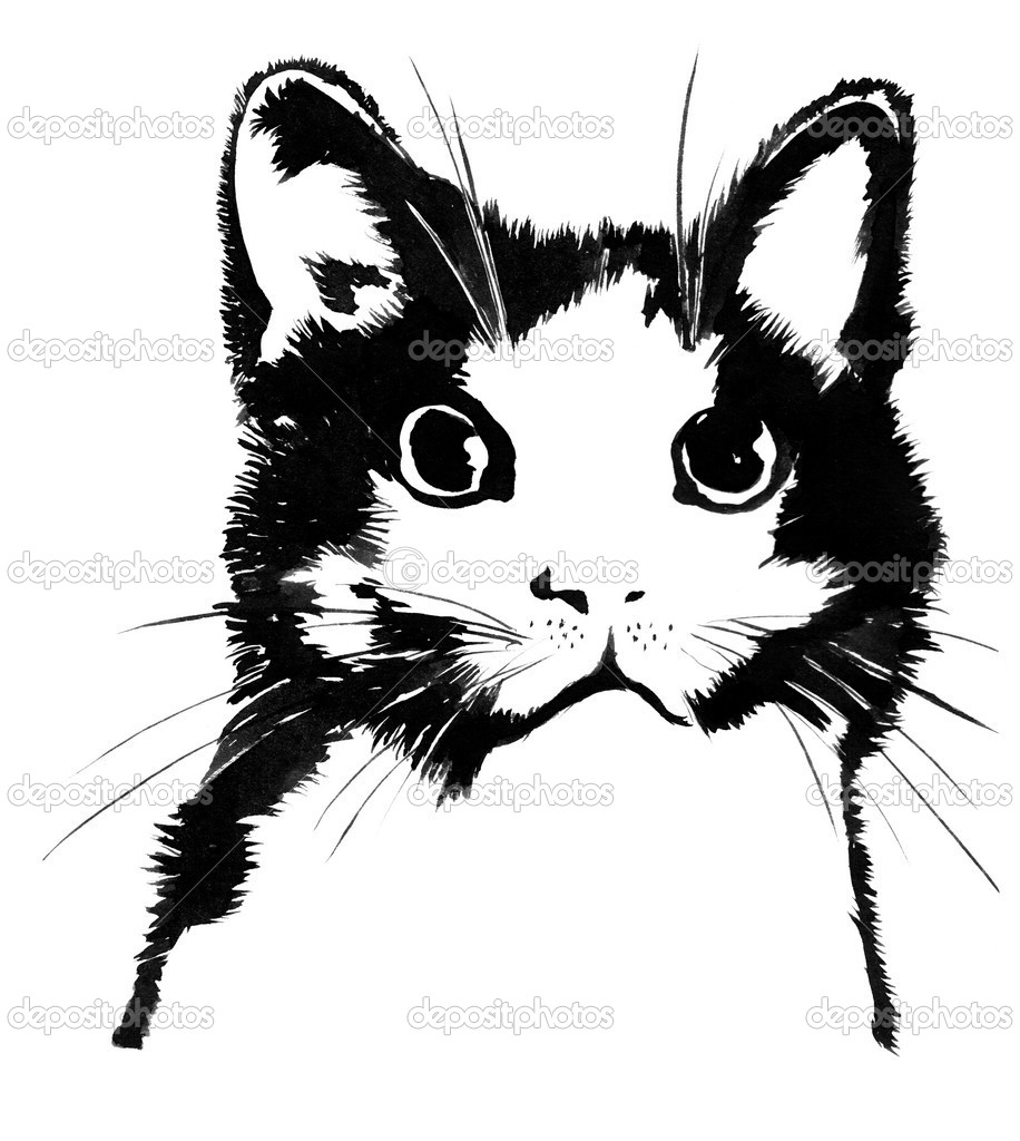 Black-and-white silhouette of a cat: water painting  Stock Photo #7978513