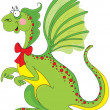 Stock Vector: Cute green dragon