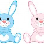 蓝色和粉红色兔子 — 图库矢量图片