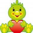 Royalty-Free Stock Vector Image: Cute green dragon with heart. Valentines day illustration.