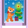 Stock Vector: Postage stamp with bear toy