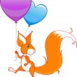 Stock Vector: Cute squirrel with two balloons