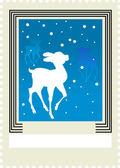 почтовая марка с оленями — Cтоковый вектор