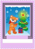 邮票与熊玩具poštovní známka s hračka medvěd — Stock vektor