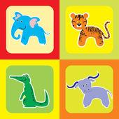 かわいいアフリカ動物 3 のベクトルを設定 — ストックベクタ