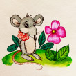 Stock Photo: Rat with a flower. Watercolor painting.