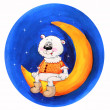 Polar bear on the Moon. Watercolor painting. — Stock Photo