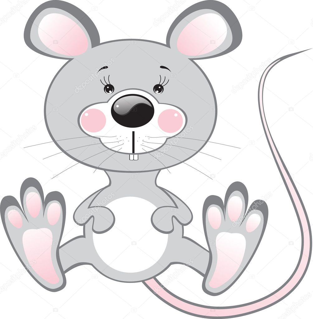Cartoon grey sitting rat: vector isolated illustration — Stock Vector #9434835