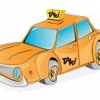 Cartoon yellow taxi car — Stock Vector