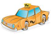 Coche de taxi amarillo de dibujos animados — Vector de stock