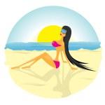 Glamour fashionable beach girl. — Stock Vector #8947711