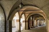 Piazzo di Biella, portico — Stock Photo