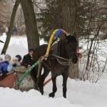 Children ride on horse — Stock Photo