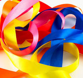Ribbons of various colors on a white background — Stock Photo